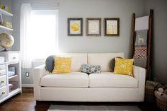 Yellow and grey nursery decor