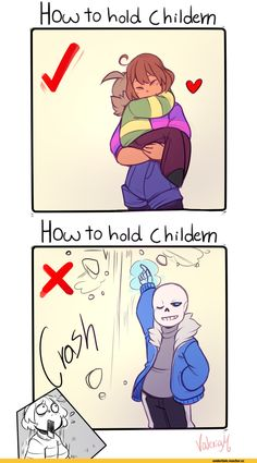 """UNDERTALE Sans Frisk Asriel """"How to hold children"""" (Really Sans? You just threw your kid in the air! Undertale Undertale, Undertale Comic Funny, Undertale Pictures, Undertale Drawings, Sans E Frisk, Nerd, Funny Memes, Hilarious, Underswap"""