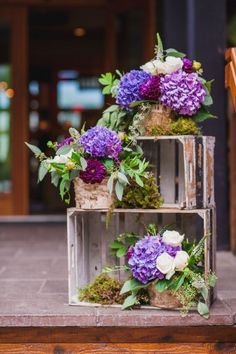 rustic country moss wedding reception decor ideas / http://www.deerpearlflowers.com/country-wooden-crates-wedding-ideas/3/
