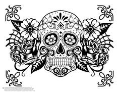 Skull Coloring Pages, Easy Coloring Pages, Halloween Coloring Pages, Printable Adult Coloring Pages, Coloring Pages For Girls, Coloring Books, Tumblr Coloring Pages, Free Coloring, Skull Girl Tattoo