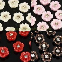 10pcs Glitter Flowers Sakura with Rhinestones 3D Nail Art Tips Acrylic Stickers