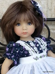 """5 piece set """"Precious Purple Roses"""" By Eileen for Effner Little Darling 13"""" doll"""