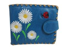 Lavishy White Daisy and Ladybug Embroidered Medium Wallet Blue *** You can find out more details at the link of the image.