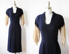 vintage 30s navy dress with lace sleeves