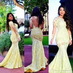 2016 Lace Mermaid Evening Dresses Sheer Long Sleeves Mermaid Long Elegant Arabic Yellow Plus Size Prom Party Gowns Vestidos De Fiesta Online with $189.8/Piece on Angelia0223's Store | DHgate.com