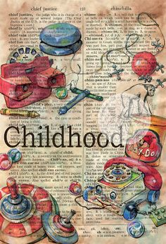 """""""Childhood"""" Mixed Media Drawing on Distressed Parchment - flying shoes art studio Beautifull. Book Page Art, Book Art, Altered Books, Altered Art, Newspaper Art, Dictionary Art, Gcse Art, Vintage Diy, Vintage Shoes"""