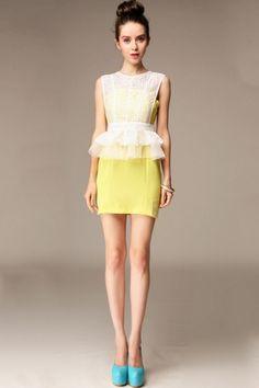 Lace Overlay Peplum Dress Ensemble