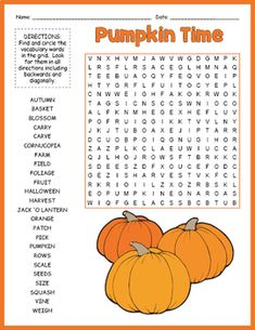 FALL VOCABULARY - 10 Word Search Puzzle Worksheet Activities