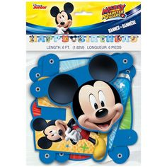 Welcome guests to your Mickey Mouse birthday party with this Mickey Mouse Birthday Banner. For Mickey Mouse themed party supplies, shop Michaels. com. Kick your party decor into high gear with this Mickey Mouse Happy Birthday Banner. Featuring colorful cut-out letters adorned with images of Mickey and the rest of his Roadster Racing pals, this paper banner is just the thing for your child's Mickey Mouse birthday party. String it across the front of your dessert table, drape it on a blank… Mickey Mouse Games, Mickey Mouse Party Supplies, Mickey Mouse Parties, Mickey Party, Toodles Mickey Mouse, Disney Mickey, Minnie Mouse, Colorful Birthday Party, 3rd Birthday Parties