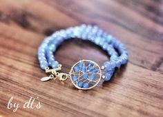#simplypretty #beautiful in #blue #double #strands #gold #bracelet with #agate