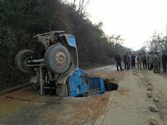 Truck in sinkhole, China