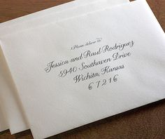 Simple and elegant envelope addressing is a lovely and classy way to seal your invitation suite.