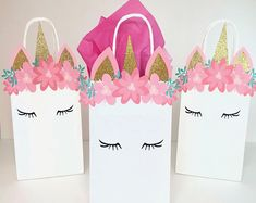 Unicorn Themed Birthday Party Favor Bags, Party Favor Bags for Girls Birthday, White Bag with Unicorn Face, Pink and Gold Party, First