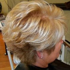 Photos of real hair behind my chair with a brief description of my color, cut, and type of hair my client has.the blond top! Short Hair With Layers, Short Hair Cuts For Women, Layered Hair, Short Hairstyles For Women, Short Haircuts, Hairstyles Over 50, Bob Hairstyles, Medium Hair Styles, Curly Hair Styles