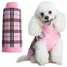 Dog Sweater Plaid Doggie Clothes for Girls Pink Medium by KOOLTAIL ** Read more at the image link. (This is an affiliate link) #Dogs