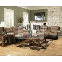 Presley Cocoa Reclining Sectional Living Room Set By Ashley Furniture