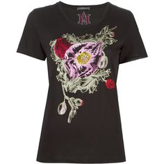Alexander McQueen floral embroidered T-shirt ($625) ❤ liked on Polyvore featuring tops, t-shirts, black, embroidered t shirts, gothic tops, alexander mcqueen, embroidery t shirts and patterned tops