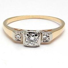 VINTAGE ESTATE DIAMOND SOLITAIRE W/ACCENTS ENGAGEMENT RING SOLID 14K GOLD