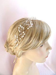 Bridal hair vine crystals pearls wedding от JoyandFelicity на Etsy