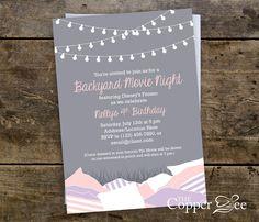 Birthday Invitation  Backyard Movie  Pink Purple Gray