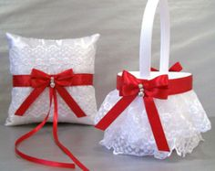 Scarlet Red, Wedding Bridal, Flower Girl Basket and Ring Bearer Pillow Set on Ivory or White ~ Double Loop Bow & Hearts Charm ~ Allison Line Lace Flower Girls, Flower Girl Basket, Red Wedding Flowers, Bridal Flowers, Red And White Weddings, Wedding Black, Ring Bearer Pillows, Ring Pillow Wedding, Wedding Accessories