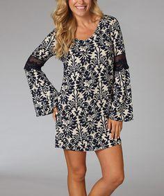 Look at this #zulilyfind! Navy Blue Damask Bell-Sleeve Dress by Pinkblush #zulilyfinds