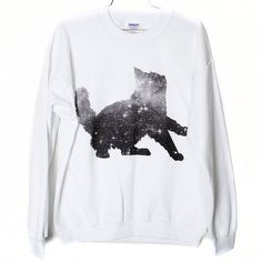 Galaxy Cat Sweatshirt Select Size by BurgerAndFriends on Etsy, $26.00
