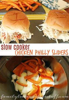 This Slow Cooker Chicken Philly Sliders recipe will become a game day favorite! Small in size but big on taste these little sliders are great for snacking or dinner when served with a side.