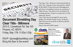 Document Shredding Day is back!  Join us tomorrow at our Biltmore branch and enjoy delicious grilled cheese samples.  #document #shredding #arizona #paper