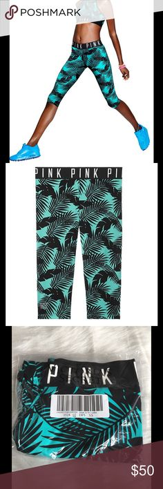 """NWT VS Pink Ultimate Extreme Crop Ultimate Extreme Crop leggings in Seafoam/ Black Palm Print by Victoria's Secret Pink.  Thick elastic waistband with """"PINK"""" logo around the band.  Sold out online! PINK Victoria's Secret Pants Leggings"""