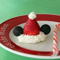 Mickey Strawberry Santa Hats recipe inspired by Mickey Mouse