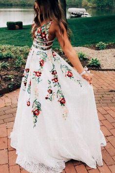 Floral Prom Dresses, Floral High Low Dress, V Neck Prom Dresses, Cute Prom Dresses, Sweet 16 Dresses, Elegant Dresses, Sexy Dresses, Evening Dresses, Bridesmaid Dresses