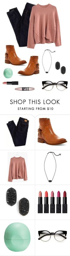 """""""december 19"""" by hkmmcds ❤ liked on Polyvore featuring American Eagle Outfitters, Frye, Madewell, Kendra Scott, NARS Cosmetics, Eos and Maybelline"""