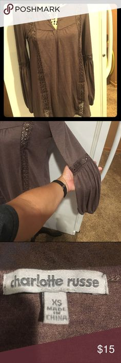 Charlotte Russe mocha colored top This mocha colored top with long sleeves is perfect for fall! Soft fabric and bell like sleeves make this piece a joy to wear! Charlotte Russe Tops