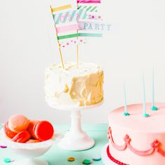 'It's a Party' Cake Flags