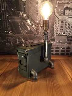 Steampunk Industrial Ammunition Box Pipe Lamp