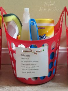 Put together small chore kits for each room in your home so it's easy for roommates, teens, or spouses to contribute to cleaning, too.
