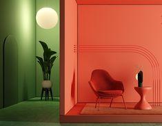 Timur Mitin on Behance Boutique Interior, Display Design, Store Design, Interior Architecture, Interior And Exterior, Arte Alien, Furniture Showroom, Minimal Design, Colorful Interiors