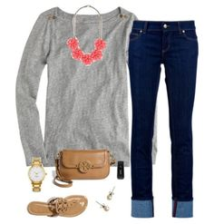 Grey sweater w/ statement necklace
