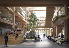 Still Image Portfolio | Brick Visual Green Architecture, Landscape Architecture, Curve Building, City Farm, Wooden Buildings, Hospital Design, Poster Layout, Design Competitions, 3d Max