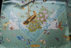 vintage Salvatore Ferragamo silk scarf bird by vtgTreasureChest
