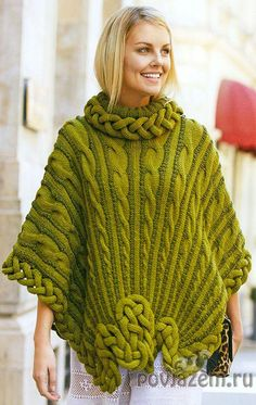 Like the way the cables are rayed, not the knot at the hem. Poncho Knitting Patterns, Crochet Poncho, Loom Knitting, Knitted Cape, Knitwear Fashion, Shawls And Wraps, Colorful Fashion, Sweaters For Women, Clothes