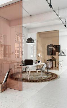 cloison separation semi-transparente en rose, surface lisse, en matière PVC, style d'aménagement industriel, tapis rond en marron et beige