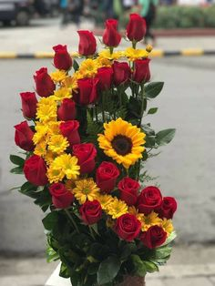 Yellow roses and white daisies Summer appeared first on Blumen ideen. The post Yellow roses and white daisies Summer Yellow roses and white daisies Summer Creative Flower Arrangements, Sunflower Arrangements, Large Flower Arrangements, Funeral Flower Arrangements, Sunflowers And Roses, Fresh Flowers, Beautiful Flowers, Yellow Daisies, Red And Yellow Roses