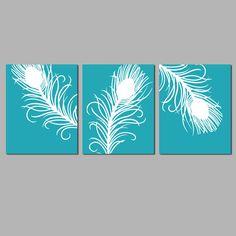 Trío de pluma de pavo real moderna  conjunto de tres de 11 x