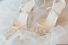 Soft wedding closed toe jeweled netted wedding heels with lace up silk straps  {Darian Shantay Photography}