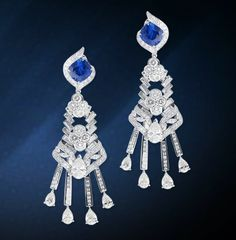 Mouawad Jewelry - Velo del Mar Grand Diamond and Sapphire Earrings with 2 untreated Burmese sapphires totaling 9.98 cts and diamonds totaling 23.14 cts