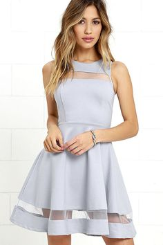 For the fashionista who's always striving for the next best thing, we recommend the Sheer Determination Blue Grey Mesh Skater Dress! Medium-weight knit is formed to a sleeveless, seamed bodice with rounded neckline, and a sheer mesh decolletage. Fitted waist leads into a skater skirt with more mesh. Hidden back zipper.