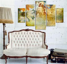 Feature Wall Art - Vintage Floral, Printed Panels, 92x56cm, $48 !!
