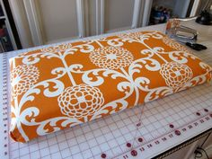 DiY Bench Cushion no sew-could make these for the deck furniture with outdoor fabric